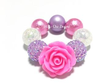 Toddler or Girls Chunky Flower Bracelet - Hot Pink Flower Bracelet - Pink, Purple and White Bracelet - Chunky Rose Bracelet - Neon Pink Rose