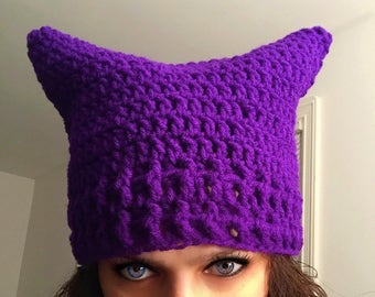 Pussy hat pussy cat hat women's march pussyhat project handmade stop trump womens rights lgbt rights Purple
