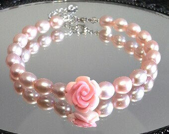 Blest Jewellery-Pearl Bracelet - AAA 6-7 Inches Mother of Pearl Rose and Pink Color Freshwater Pearl Bracelet - Bridal Pearl Jewelry