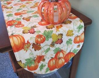 "36"" Pumpkin Table Runner Reversible Autumn Table Runner Halloween Table Runner Thanksgiving Table Runner Pumpkin Table Decor"