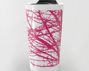 Pink Branches Travel Mug - Coffee Mug - Pink and White Modern Tree Branches Travel Mug - Aldari Home