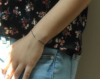 "Thin Black Nylon Stacking Bracelet w/ Dainty 14k Gold Filled or Sterling Silver Bar Tube Charm Perfect For Layering ""Confidence"" Affirmation"