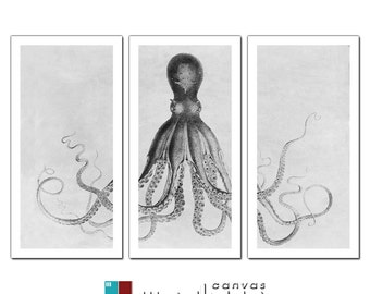 Lord Bodner Octopus Triptych on Premium Archival Matte Paper - 12 x 24 Panels