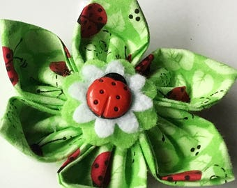 Green Lady Bug Collar Flower for Girl Dog or Cat