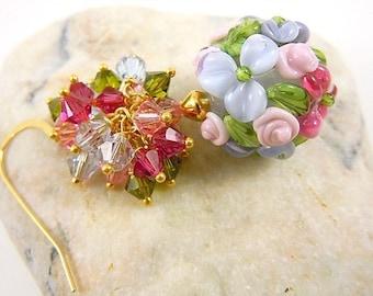 Vermeil earrings 14carats/lampwork/swarovski/beads of artisanat.fait hand art.