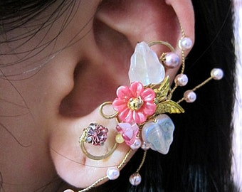 Flower Ear Cuff - Pink Ear Cuff - Flower Earcuff - Nature Ear Cuff - Nature Earcuff - Flower Cuff Earring - Bridal Ear Cuff - Bridal Earcuff
