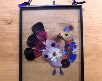 Pressed Flower Picture: 'Bird'. Hand-made, unique pressed flower art. Gift for her.