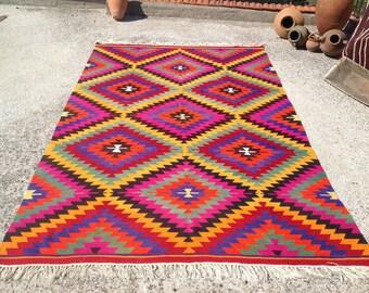 "Turkish Kilim rug, area rug, pink kilim rug, 82"" x 132"", kelim,  vintage rug, bohemian rug, Turkish rug, yellow kilim, rug, rugs,zig zag,771"
