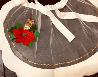 Vintage Christmas Apron White net Sequins