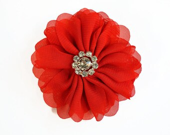 "Red Chiffon Flower. 3"" Chiffon Flower with Glass Rhinestone Center.  QTY: 1 FLower~Brea Collection"