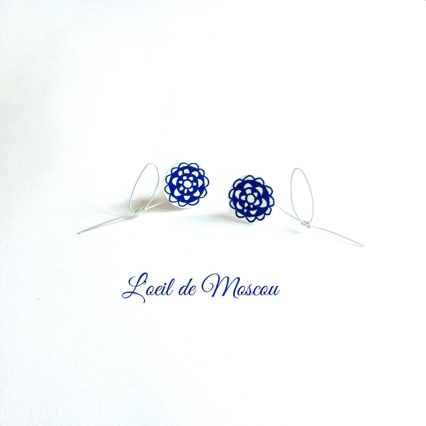 creating earrings blue & white floral wire