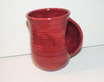 Hand made ceramic Snuggle Mug, hand warmer mug.  Unique Red glaze.