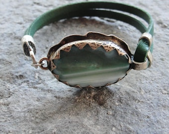 Leather Agate Bracelet - Green Rustic Gemstone Jewelry Leather and Metal