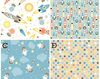 Organic Crib Bedding Space Monkey Astronaut Rocket Ship Baby Boy Nursery
