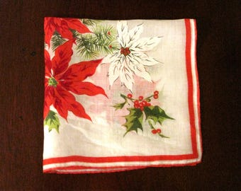 Vintage Poinsettia Handkerchief, Hand Hemmed, Christmas Hanky, Holiday Hanky, Red & white Flower Handkerchief, Gift for Her