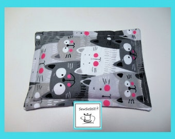 "Microwave Heat Pack, Rice Heating Pad, Flax Seed Heating Pad, Flannel Cool Cats, Small Buddies Heat Packs, 5"" x 7"""