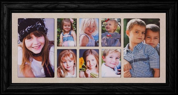 7x15 8-Opening Collage Picture Frame ~ Cream Mat with Your Choice ...