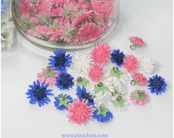 Cornflower jewellery beads charms pendant wildflower hedgerow
