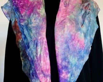 A beautiful lighter 100% silk scarf spring rain with unique handmade design