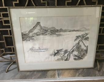 Bamboo framed mixed media Japanese art