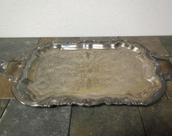 """vintage F. B. Rogers Silverplate footed Serving Tray with handles***  Butlers Tray,Tarnished Patina  14"""" wide by 25"""" long"""