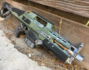 Military-Halo-Style-Nerf-Rapidstrike-rifle-cosplay-LARP-accessory-costume & Steampunk Nerf Stampede Rifle