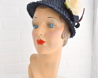 1950s Navy Straw Hat with Cream Rose