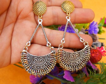 Ethnic Traditional Bollywood Twotone Corve Design Earring DCN6266