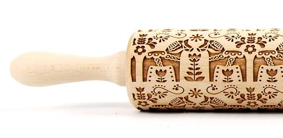 Scandinavian PATTERN - Embossing rolling pin, engraved rolling pin