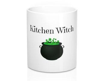 Cute Kitchen Witch Coffee Mug 11Oz Cauldron Design