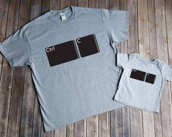 Ctrl C/Ctrl V Father's Day T-Shirts Matching Set, Father Son Father Daughter Matching Shirts