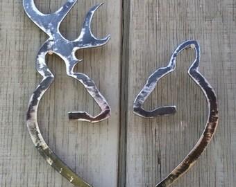 Deer Heart Metal Sign, buck and doe