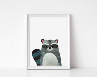 Raccoon Print, Woodlands Nursery Decor, Wall Art, Animals Print, Woodlands Nursery Art, Modern Minimal, Raccoon, Home Decor