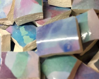 WATERCOLOR BLUR blues purples and greensand pinks broken china plates-160pcs mosaic tiles- shabby chic- pique assiette id 97