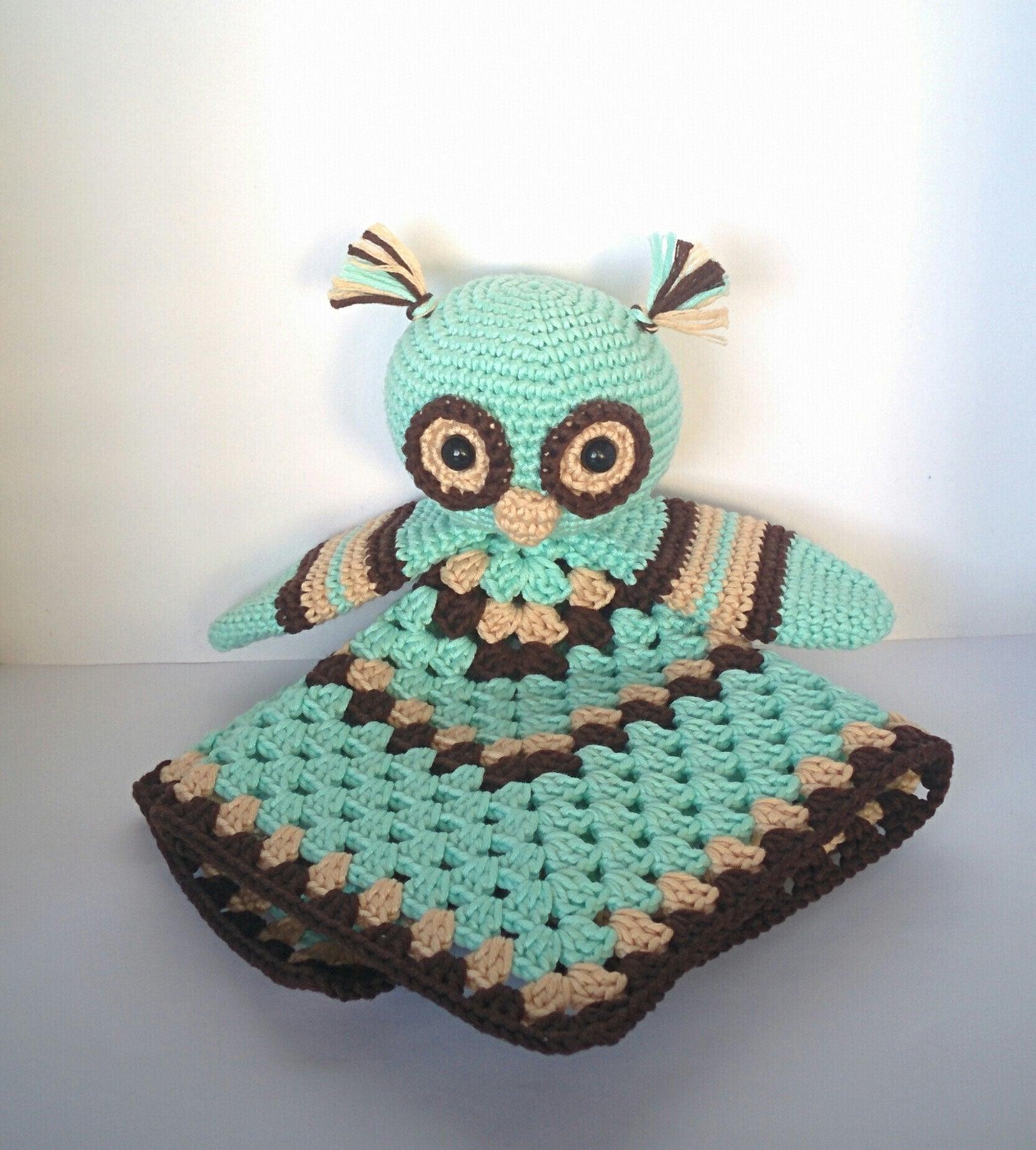 Security blanket crochet pattern, owl lovey, comfort blanket PDF ...