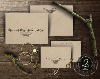 Editable Wedding Envelope template Instant Download PDF, Kraft rustic calligraphy Theme for Wedding Invitation Set (TED386_2)