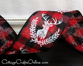 "Christmas Wired Ribbon, 2 1/2"", White Deer Print, Red and Black Check - TEN YARD ROLL - ""Deer Laurel"" Buffalo Plaid Wire Edged Ribbon"