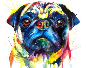 Colorful Pug Art Print - Print of my Original Watercolor Painting (FREE Shipping!)