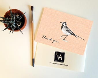Card, Thank you card matching double Wagtail bird illustration