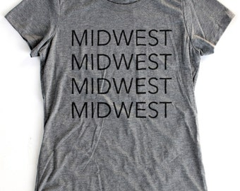 Midwest T-Shirt WOMENS  -  Available in S M L XL and five shirt colors - home tee