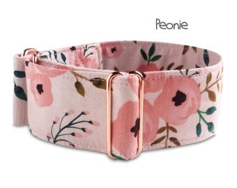 blush dog collar, floral collar, rose gold hardware, peonie, girl dog collar, watercolor, flowers, martingale, pink coral, buckle collar
