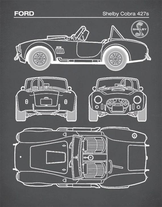 Patent Print Ford Shelby Cobra Blueprint 427s Shelby Cobra