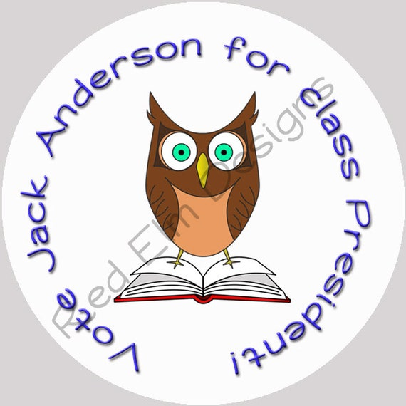 Class president stickers owl sheet of 20 2 round owl class president stickers vote for class president 2 inch round stickers from redelmps on etsy