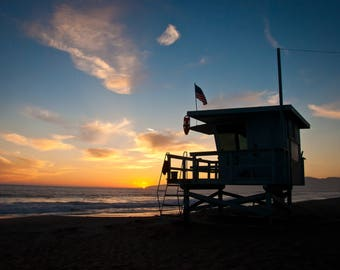 Venice Beach Sunset, Silhouette, Lifeguard Station, Venice Beach Photos, Fine Art photography,Digital Download
