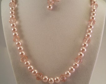 Pink Pearl and Crystal Necklace and Earring Set