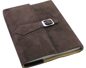 Genuine Dark Brown Suede Refillable Journal