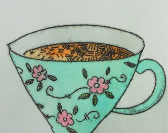 Whimsical wall art archival print flower cup of tea kitchen home decor