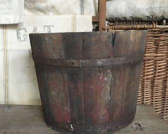 Antique primitive wooden bucket pail/ syrup sap sugar/ firkin/ 19th century/ old/ barn farm/ vintage farmhouse wood bucket