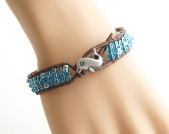 Baby Dolphin Leather Bracelet Beach Bracelet Friendship Bracelet Beaded Bracelet Leather Wrap Bracelet Boho Mermaid Nautical Bracelet