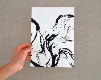 Original abstract art ink drawing, Black and white, modern, movement, wings, abstract painting, ink painting, minimal abstract painting,